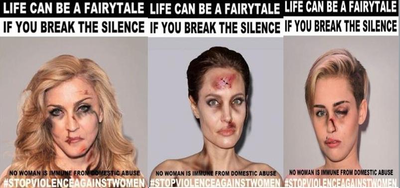 Famosas como Madonna o Angelina Jolie, se unen contra la violencia de género.