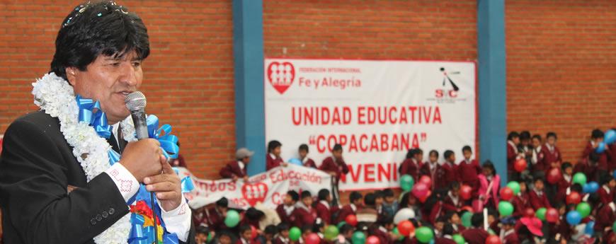 Presidente Morales inaugura obra educativa de Fe y Alegría en La Paz